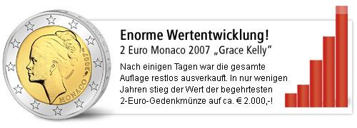 Wertentwicklung: 2 Euro Monaco 2007 Grace Kelly