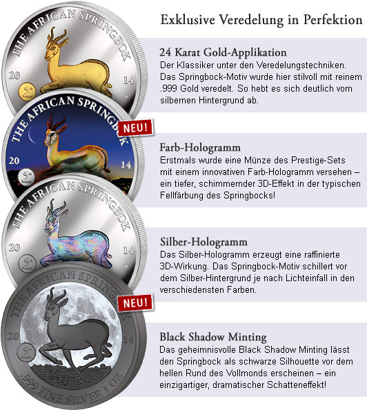 Silver Investment Coin Prestige-Set Springbock 2014