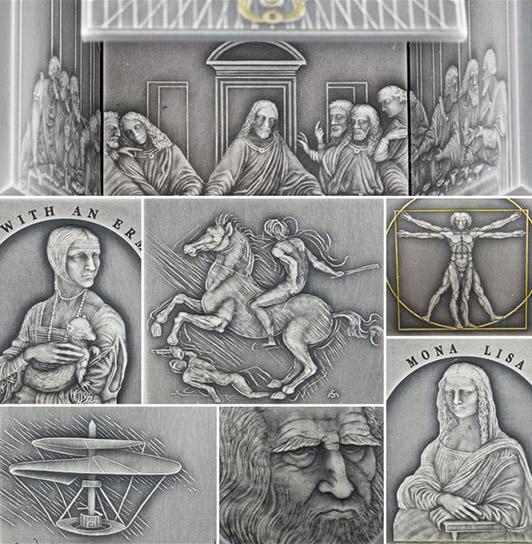 Detailabbildung: Würfelmünze Leonardo da Vinci