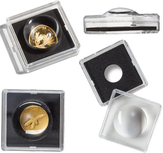 Münzkapseln mit Lupe
