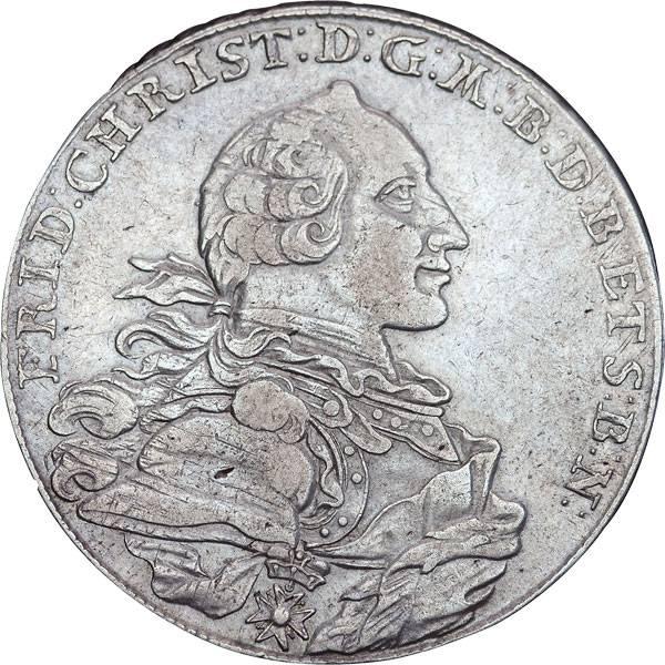 Taler Konventionstaler Markgraf Friedrich Christian 1766-1768 Sehr schön