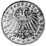 5 Mark Lübeck Wappen breiter Adler 1904-1913 Vorzüglich