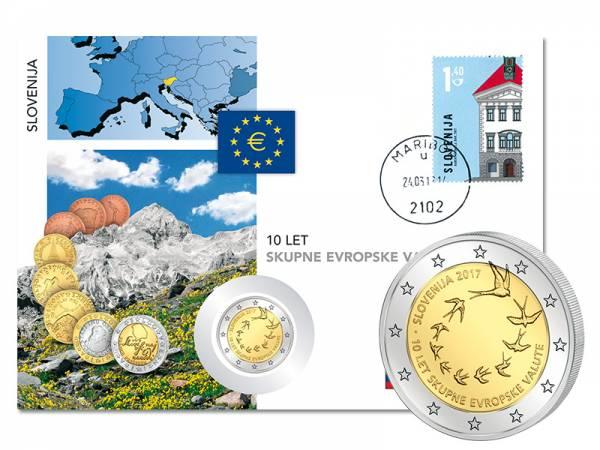 2 Euro Numisbrief Slowenien 10. Jahrestag der Euroeinführung Sloweniens 2017