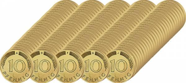 135 x 10 Pfennig BRD Jahrgangsserie 1950 - 1996   Bundesrepublik Deutschland ss-vz