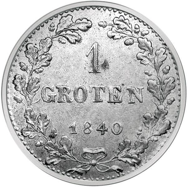 1 Groten Silber Freie Hansestadt Bremen 1840  ss-vz