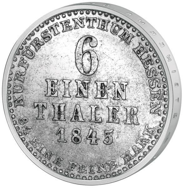1/6 Taler Hessen-Kassel Kurfürst Wilhelm II. und Kurprinz Friedrich Wilhelm 1831-47-59 Sehr schön