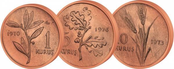 1, 3, 5 Kursus Türkei 1973-1974 prägefrisch