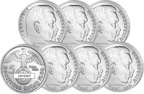 6 x 5 Reichsmark Prägestädttensatz Paul von Hildenburg 1936 Drittes Reich ss-vz