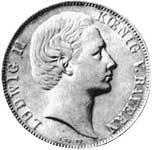 Vereinstaler Silber Ludwig II König v. Bayern 1866-71 vorzüglich