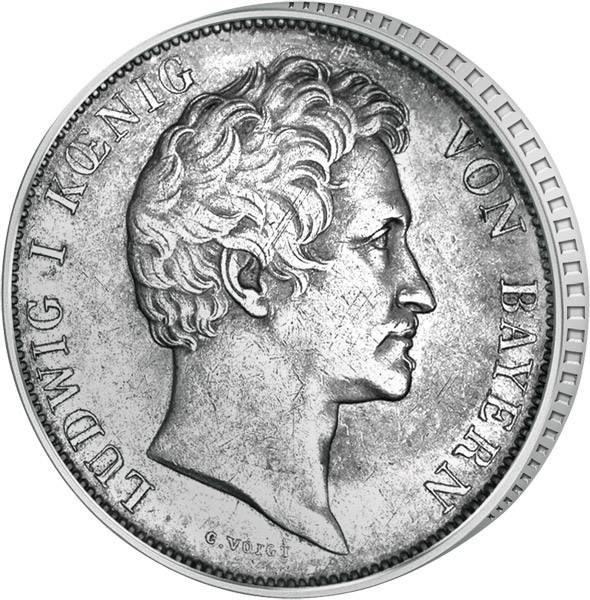 1 Gulden Bayern Ludwig I. 1837-1848 Sehr schön