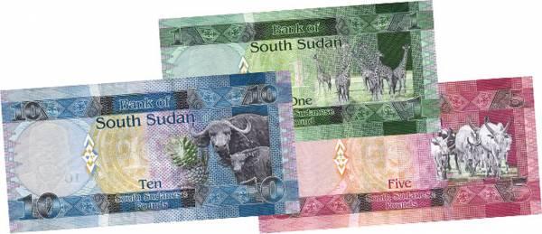 1, 5, 10 Pounds Süd-Sudan Tierwelt des Südsudan