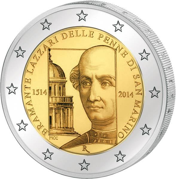 2 Euro San Marino 500. Todestag Donato Bramante 2014 prägefrisch