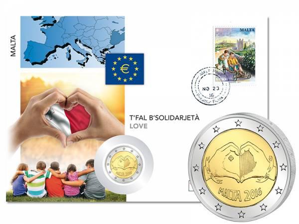 2 Euro Numisbrief Malta Von Kindern mit Solidarität Liebe 2016