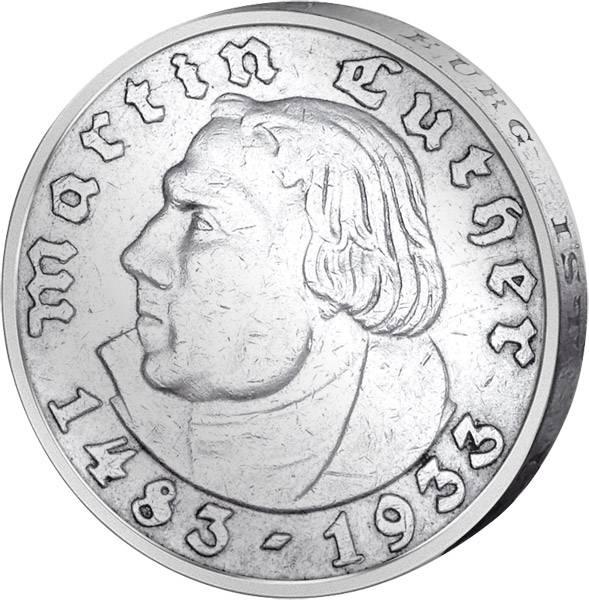 5 Reichsmark 450. Geburtstag Luthers 1933   sehr schön