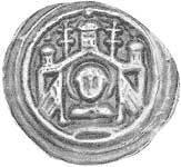 Brakteat Magdeburg St. Moritz mit zwei Fahnen Erzbischof Wilbrand von Käfernburg 1235-1254 ss-vz