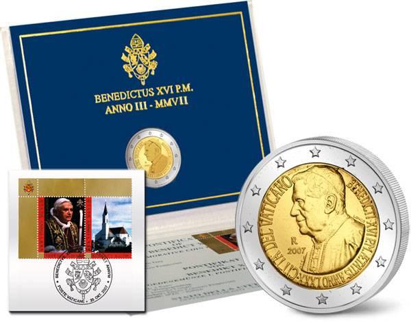 2-Euro-Gedenkmünze Vatikan als Ersttags-Edition 2007 Stempelglanz