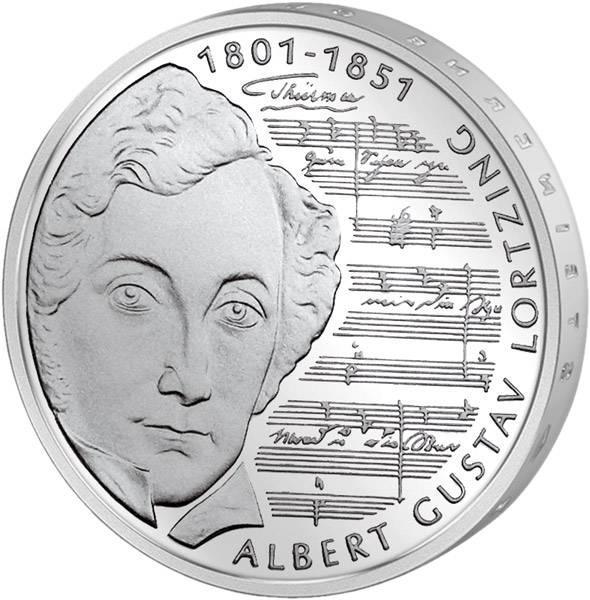 10 DM Münze BRD 200. Geburtstag Albert Gustav Lortzing 2001 Unsere Wahl vorzüglich