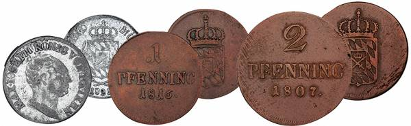 1 + 2 Pfennig + 1 Kreuzer Bayern König Maximilian I. Joseph
