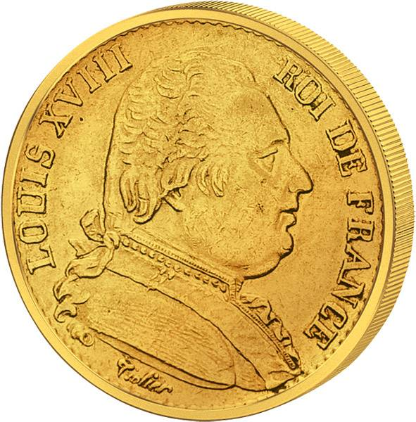 20 Francs Frankreich Ludwig XVIII. 1814-1824 ss-vz