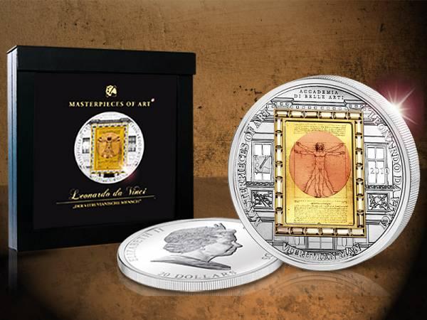 20 Dollars Cook Inseln Leonardo da Vinci Vitruvianischer Mensch 2010 Polierte Platte