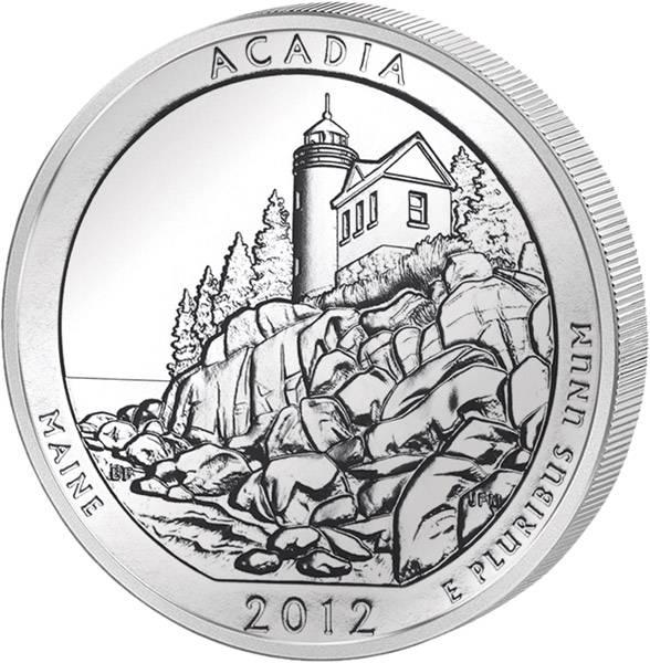 Quarter Dollar USA Maine Acadia 2012 prägefrisch