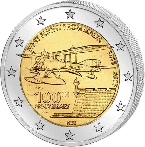 2 Euro Malta 100 Jahre erster Flug von Malta 2015 prägefrisch