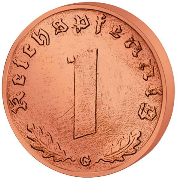 1 Reichspfennig Hakenkreuz 1936-40 ss-vz