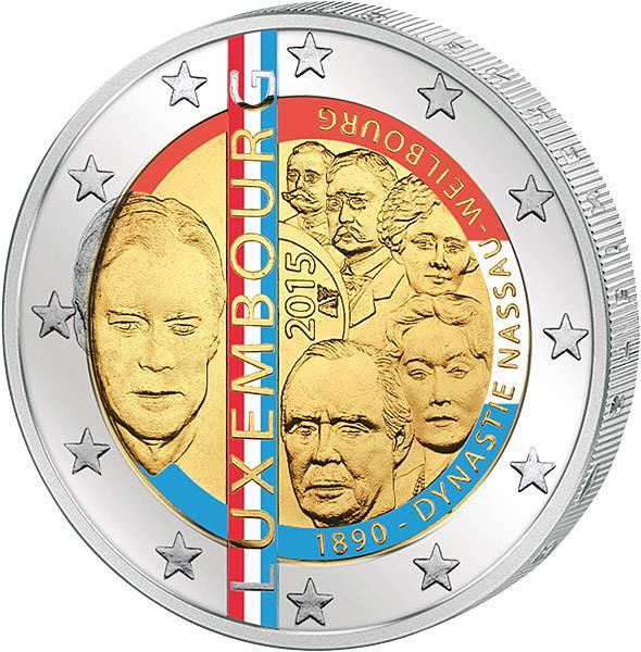 2 Euro Luxemburg Dynastie Nassau-Weilburg mit Farb-Applikation