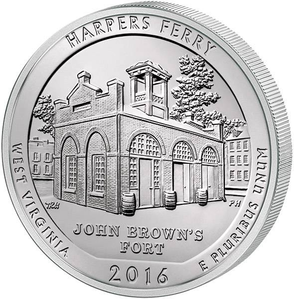 Quarter Dollar USA West Virginia Harpers Ferry National Historical Park