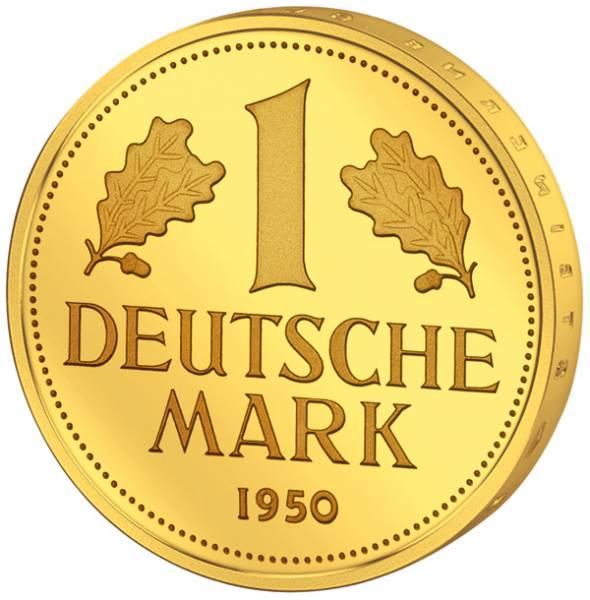 1 DM BRD 1950 vollvergoldet
