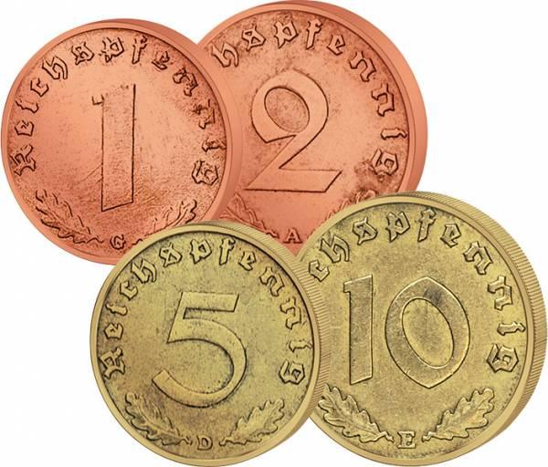 1 Pfennig 1, 2, 5, 10 Reichs-Pfennige Hakenkreuz 1936-1940 ss-vz