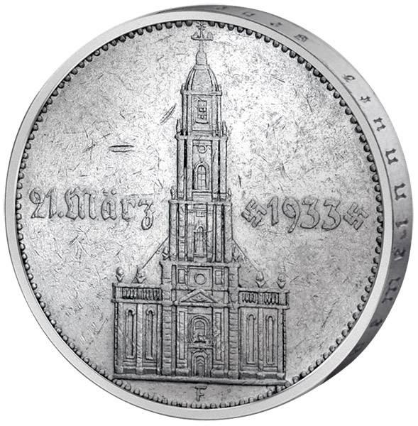 5 Reichsmark Drittes Reich Garnisonskirche Potsdam ohne Datum 1934 Sehr schön