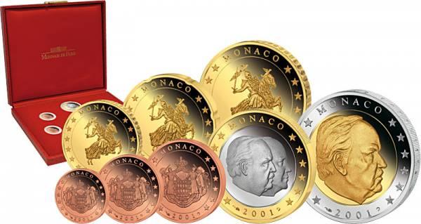 8 Werte Euro-Kursmünzensatz Monaco  2001  Polierte Platte