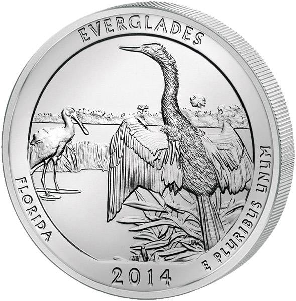 Quarter Dollar USA Florida Everglades National Park 2014 prägefrisch
