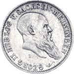 5 Mark Sachsen-Meining 75. Geburtstag Georgs II. 1901 Sehr schön