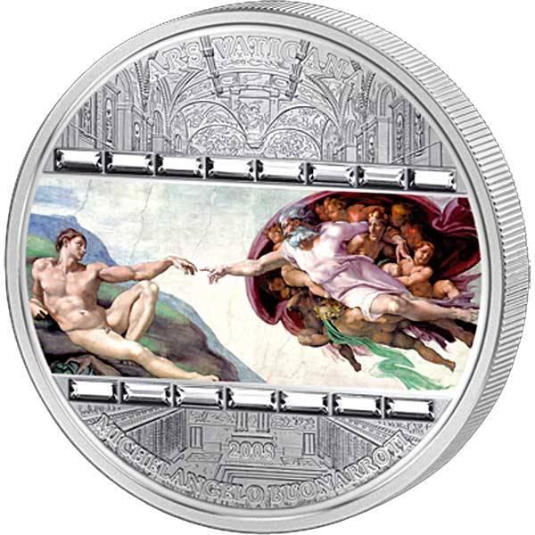 20 Dollars Cook Inseln Michelangelo Die Erschaffung Adams 2008 Polierte Platte