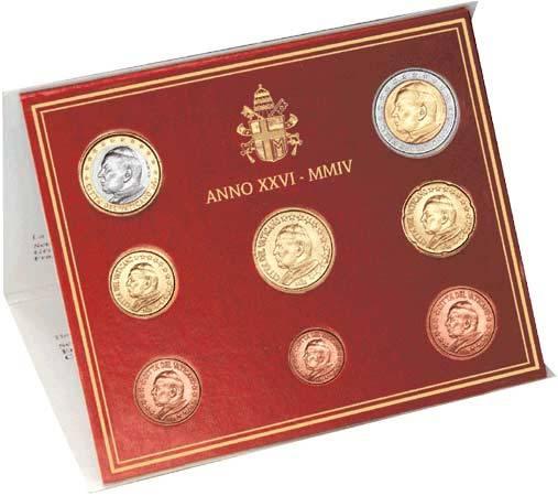 8 Werte Euro-Kursmünzensatz Vatikan 2004 Stempelglanz