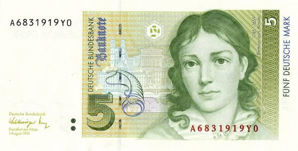5 DM BRD BRD Bettina von Arnim 1991 kassenfrisch