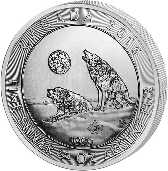 3/4 Unze Kanada Heulender Wolf 2016 prägefrisch