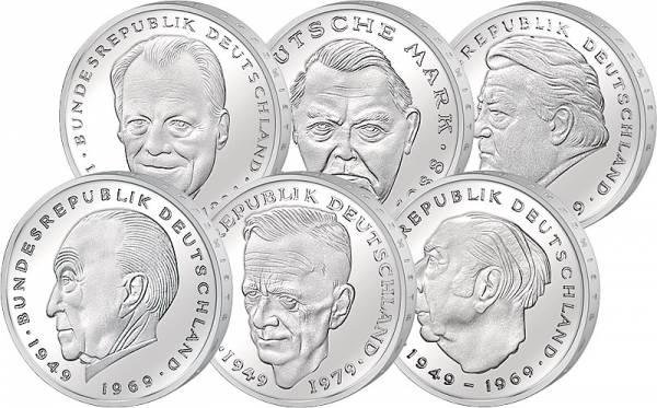 6 x 2 DM BRD Adenauer, Heuss, Schumacher, Erhard, Strauß, Brandt 1969-2001 prägefrisch