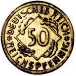 50 Pfennig Weimarer Republik Ähren 1924 A ss-vz