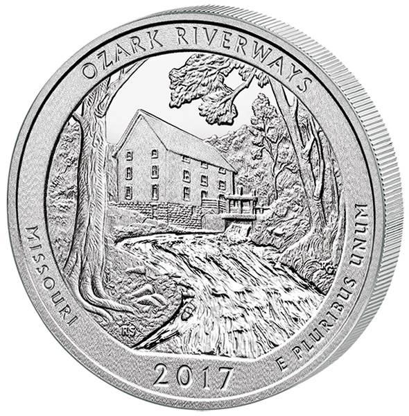 Quarter Dollar 25 Cents USA Missouri Ozark National Scenic Riverways 2017