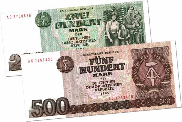 200 und 500 Mark Banknoten der DDR 1985 Kassenfrisch