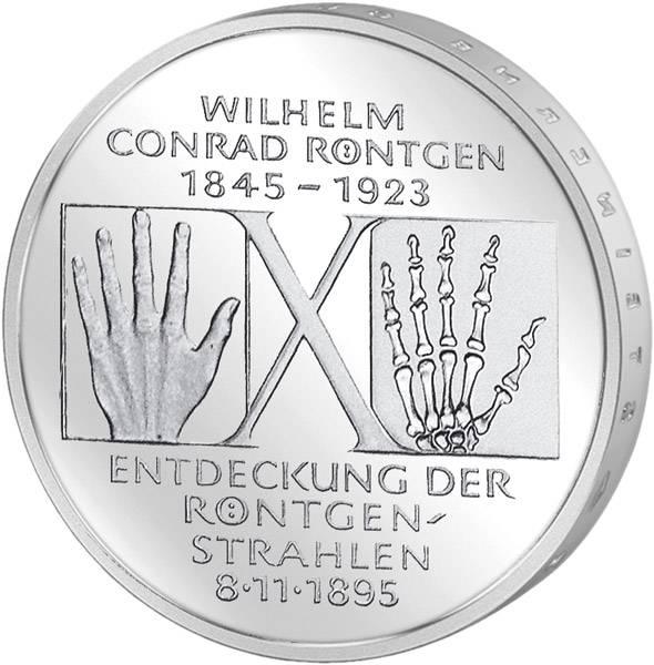 10 DM BRD  Wilhelm Conrad Röntgen 1995 D vorzüglich