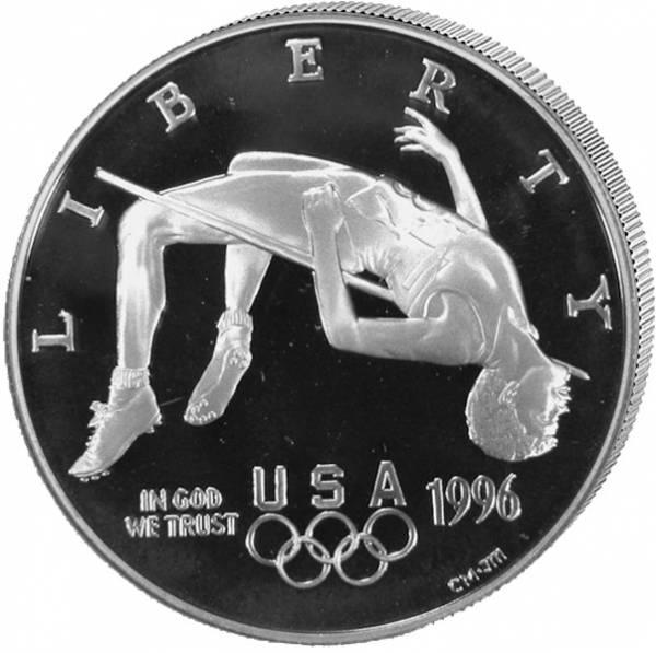 1 Dollar USA Olympiade Atlanta Hochsprung 1996 Polierte Platte (PP)