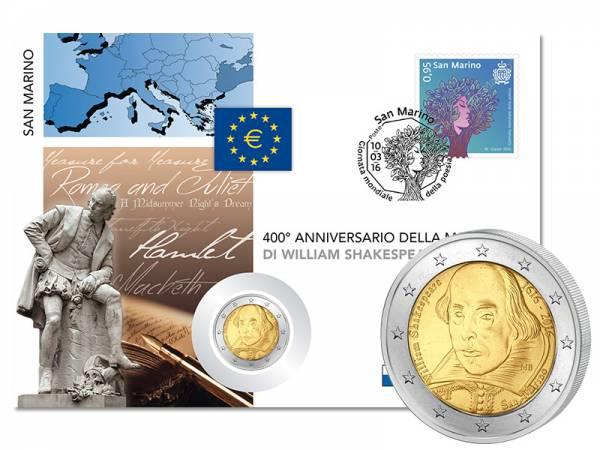 2 Euro Numisbrief San Marino  400. Todestag William Shakespeare