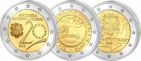 3 x 2 Euro Andorra Spar-Set 2014 + 2015