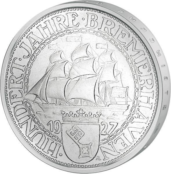 3 Mark Weimarer Republik Bremerhaven 1927 Vorzüglich