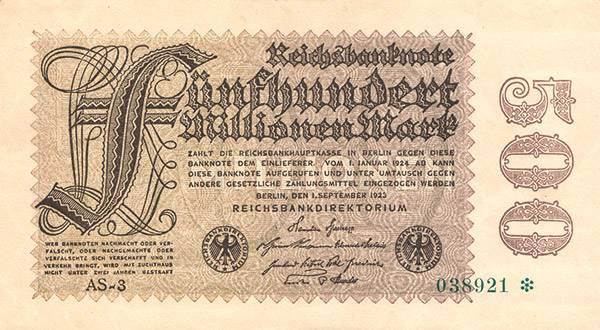 500 Millionen Mark Reichsbanknote 1923