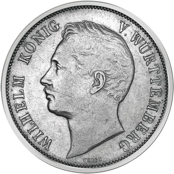 1 Gulden Württemberg König Wilhelm I. 1838/1856 Sehr schön